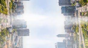 City on clear sky stock photos