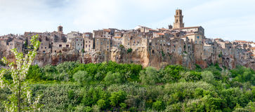 City on the clif in  Italy. Panorama of the Pitigliano - city on clif in Italy Royalty Free Stock Image