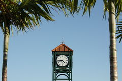 City Clock. With roman numerals with palm trees Royalty Free Stock Photos