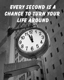 City Clock quote. Motivational quote about live by an unknown author, on a downtown street clock at a few minutes before twelve Royalty Free Stock Image