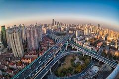City closeup by fisheye view Stock Photo