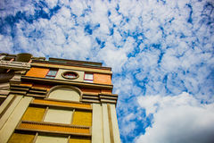 City in the cloud. City in the blue sky cloud royalty free stock photography