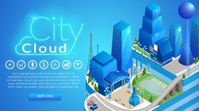 City Cloud Horizontal Banner with Copy Space. Abstract Futuristic Digital Metropolis with Infrastructure, , High-tech Network Service, IOT Digital Technology royalty free illustration