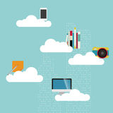 City with cloud storage Royalty Free Stock Photography