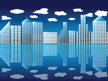 City and clouds. Illustration of an urban view with reflection Stock Photography