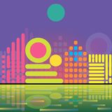 City on the coast. Vector illustration - the city of the simplest geometric figures on the coast Royalty Free Stock Image