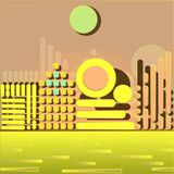 City on the coast. Vector illustration - the city of the simplest geometric figures on the coast Stock Photos