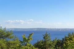 City on coastline of lake bay Royalty Free Stock Image