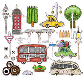 City Collection, transport, trees, road marks and house Royalty Free Stock Photography