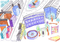 City colored drawing, concept Royalty Free Stock Image
