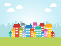 City with colored houses Stock Photos