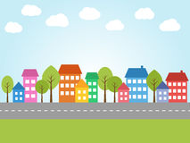 City with colored houses Royalty Free Stock Image