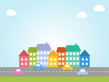 City with colored houses Royalty Free Stock Photo