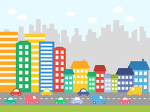 City with colored houses Stock Photography