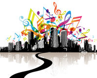 City with colored tunes. Vector art Stock Photos