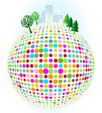 City on colorful dots Stock Image