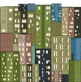 City, colorful panorama of houses hand drawn. Illustration Royalty Free Stock Photo