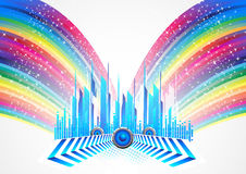 City with colorful rainbow. Clip-art Stock Illustration