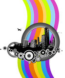 City with colorful rainbow. Vector Royalty Free Stock Photography