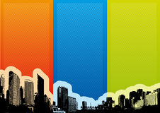 City with colorful stripes. Vector Stock Image