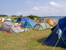 City of colorful tents by the beach Stock Image