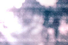 City commuters in winter. Winter city commuters with snow. Blurred image of people walking on the street. Defocused figures of people with snowing effect and Royalty Free Stock Photo
