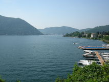 The city of  Como Italy. A view onto Como and a celebrity hotel with floating pool Stock Photos
