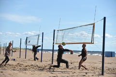 City competitions on beach volleyball Royalty Free Stock Photo
