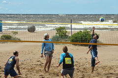 City competitions on beach volleyball royalty free stock image