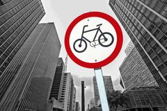 Bicycle traffic permission board between buildings in perspectiv. City concept : bicycle traffic permission board between buildings in perspective Stock Image