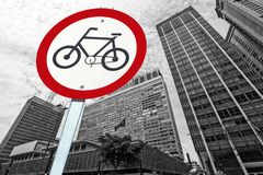 Bicycle traffic permission board between buildings in perspectiv. City concept : bicycle traffic permission board between buildings in perspective Royalty Free Stock Photos