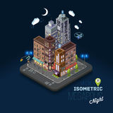 City concept with isometric buildings, Royalty Free Stock Photos