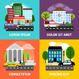 City concepts vector illustration. Residential areas and business buildings, municipality service sector Royalty Free Stock Image