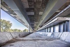 Empty concrete bridge construction. City concrete bridge construction industrial scene background stock photos