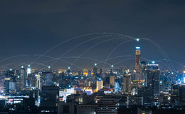 City with conncetion line, technology conceptual, internet globa Stock Images