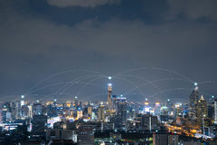City with conncetion line, technology conceptual, internet globa Stock Photos