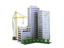 City construction. 3d illustration of city buildings construction, over white background Royalty Free Stock Images