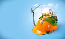 City on the construction helmet Royalty Free Stock Image