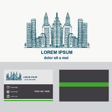 City construction, logo design for company. Logotype with business card template.  Stock Photos