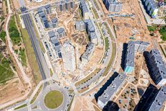 City construction site, aerial top view royalty free stock image