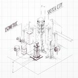 City Construction Sketch Isometric Stock Photos