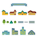 City constructor 3d icons set. Landscape constructor 3d icons set. Buildings houses, trees and architecture signs for map, game, texture. Design vector element Stock Images