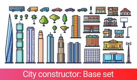 City constructor flat line. Abstract city constructor in flat line style. Base set with icons of skyscrapers, apartments, houses, stores, transport, trees and Royalty Free Stock Image