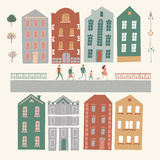 City constructor with houses, people, trees, lampposts. Stock Images