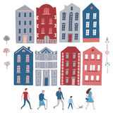 City constructor with houses, people, trees, lampposts. Stock Photos