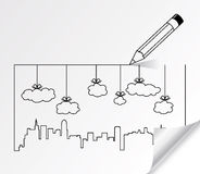vector city contours of buildings and clouds Stock Photo