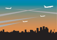 City contrails. Aircraft flying over city skyline. Vector and JPEG versions Royalty Free Stock Photos
