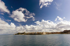 City of Corfu island from sea view Royalty Free Stock Photo