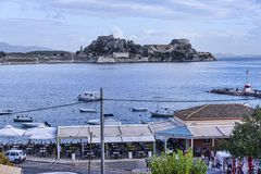 Panorama of the Bay at Corfu town on the the Greek island of Corfu. The city of Corfu stands on the broad part of a peninsula, whose termination in the Venetian Stock Images