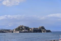 Panorama of the Bay at Corfu town on the the Greek island of Corfu. The city of Corfu stands on the broad part of a peninsula, whose termination in the Venetian Royalty Free Stock Images